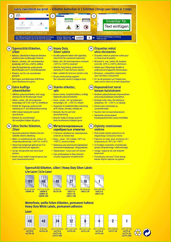AVERY Zweckform L6009 8 Typenschildetiketten A4 384 Etiketten wetterfest reißfest 45 7 x 21 2 mm 8 Blatt silber Amazon Bürobedarf & Schreibwaren