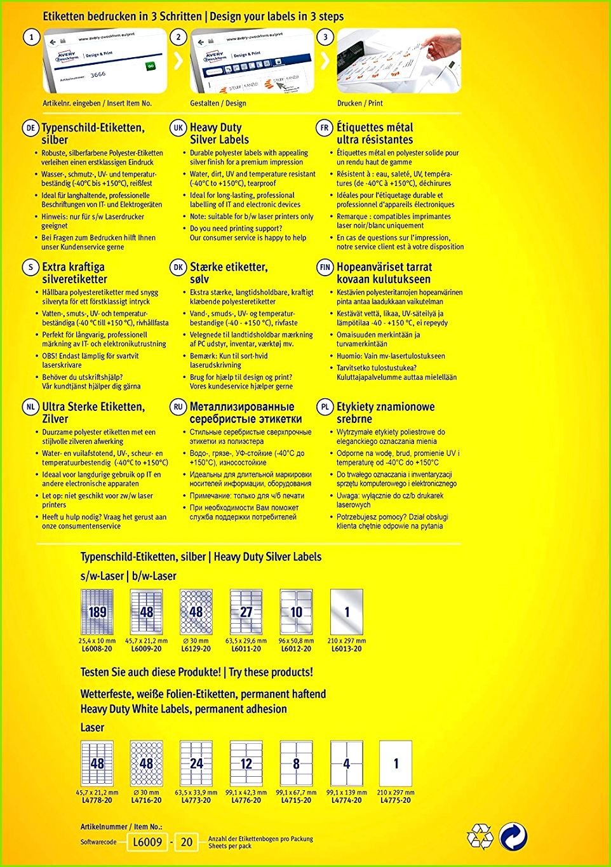 AVERY Zweckform L6133 20 Typenschildetiketten A4 480 Etiketten wetterfest reißfest 70 x 37 mm 20 Blatt silber Amazon Bürobedarf & Schreibwaren