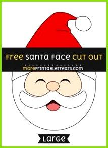 Free Santa Face Cut Out size printable