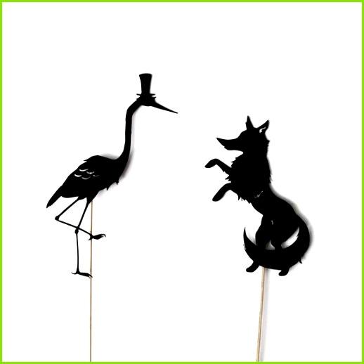Fuchs und Kranich Schatten Marionette Set