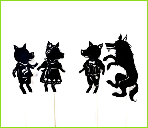 Three Little Pigs Abridged Shadow Puppet Set