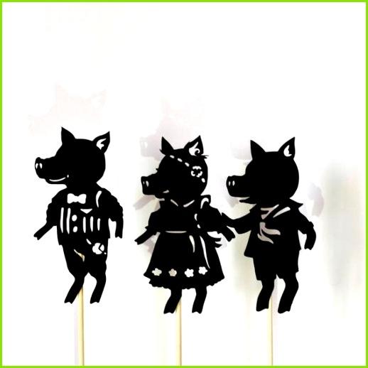 Die drei kleinen Schweinchen Voller Schatten Marionette Set
