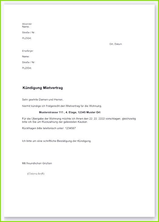 Schriftliche Kündigung Wohnung Vorlage Neues Mietvertrag Muster Wohnung Neues Schriftliche Kündigung Wohnung Vorlage