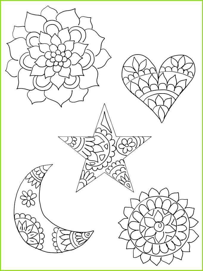 DIY Shrinky Dinks Template featuring mandala patterns in heart star and crescent moon