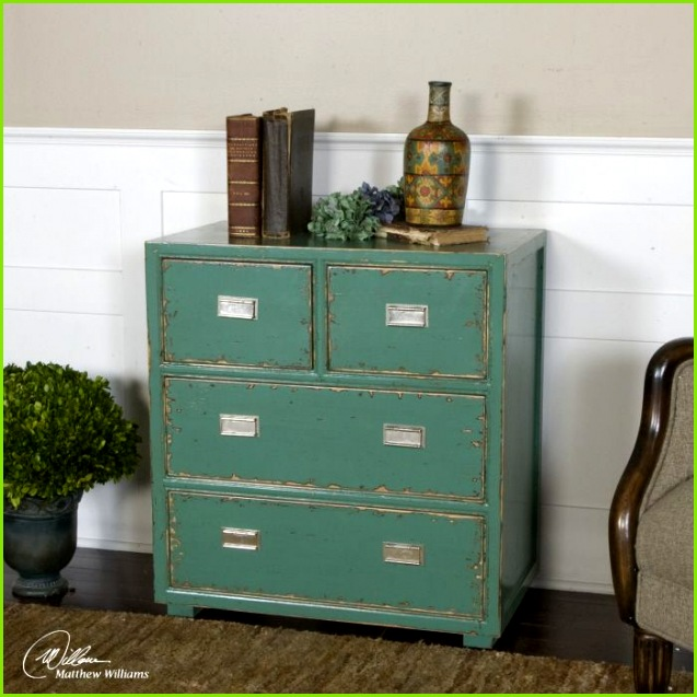 Uttermost Aquias Accent Chest Hand painted solid fir wood in distressed aqua finish accented