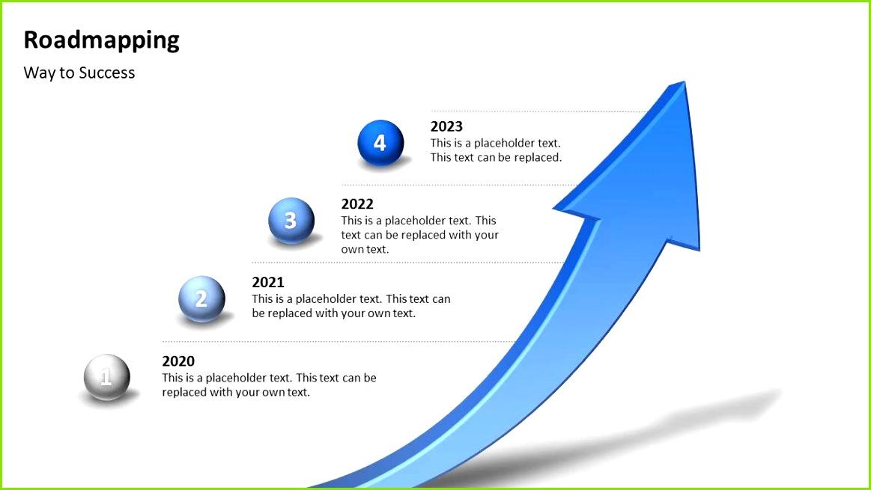 """Kostenlose Roadmapping Vorlage 3d Pfeil als Zeitstrahl für PowerPoint Präsentationen """"Way to success"""" Download bei"""