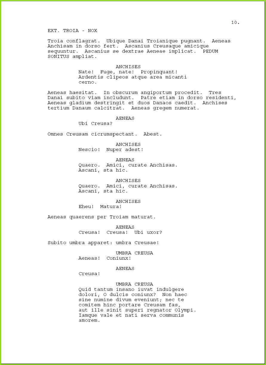 Die Seite eines Muster Drehbuchs