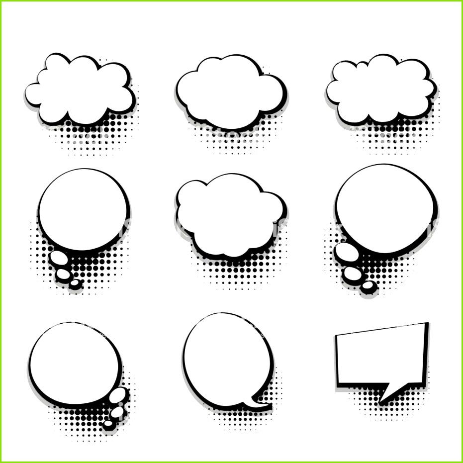 Sammlung leeren Vorlage Text ic Sprechblase Lizenzfreies sammlung leeren vorlage text icsprechblase stock vektor art