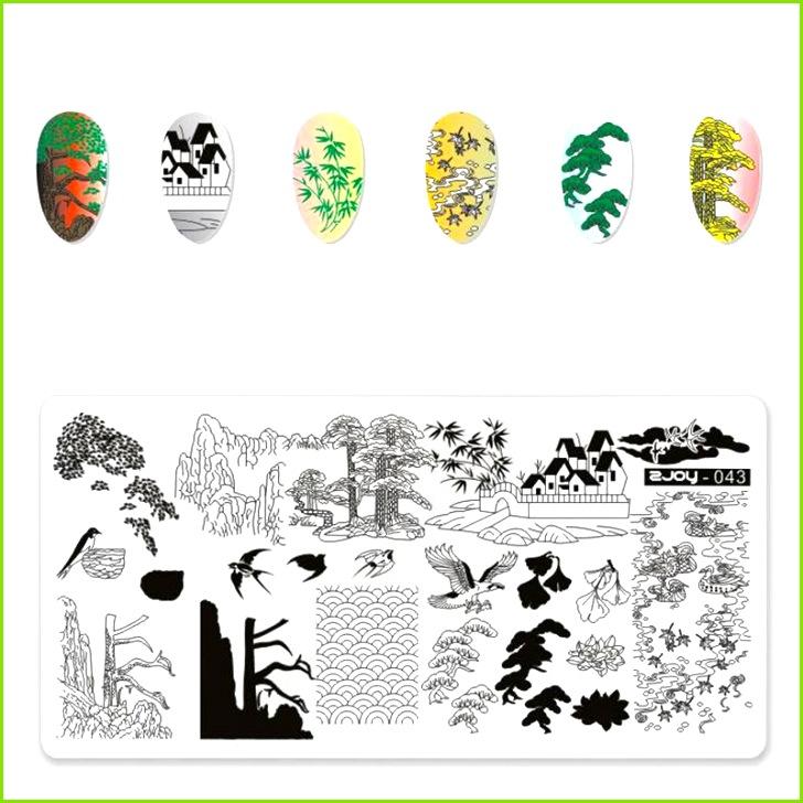 Großhandel Zjoy Serie Nail Art Stamping Platten China Stil Welle Wild Crane Gazebo Würfel Bambus Serie Nail Art Stempel Vorlage DIY Maniküre Von Forfaceuse