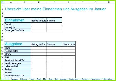 Haushaltsbuch mit Excel