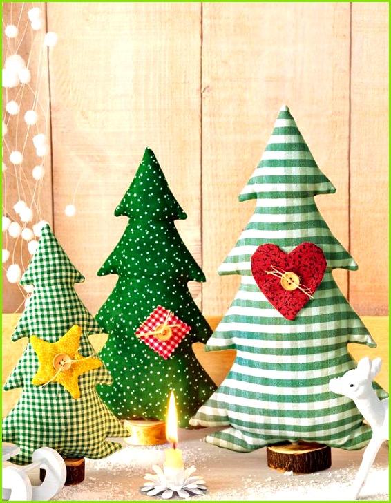 Beispiel für Stoff Tannenbäume nähen für Weihnachtsdeko