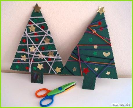 Basteln mit Kindern Weihnachtsbaum umwickelt mit Garn yarn wrapped Christmas tree