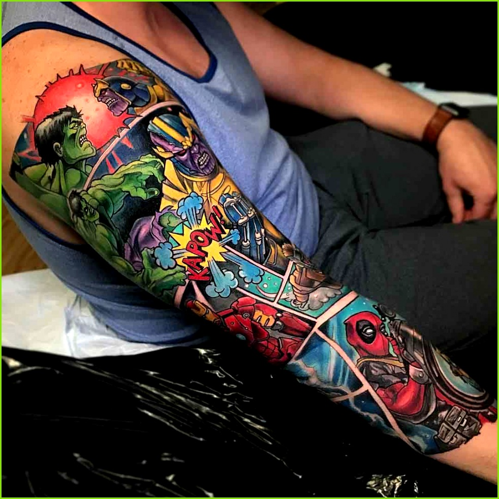 tattoo sleeve marvel ic books