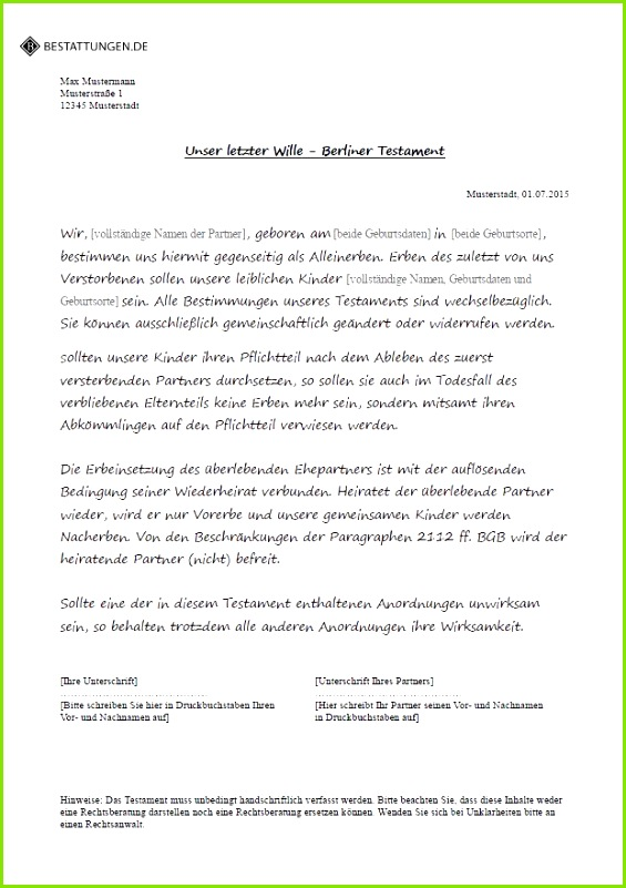Ehegattentestament Berliner Testament Muster Pdf Inspiration Berliner Testament Pdf Genial Berliner Testament Muster Kostenlos