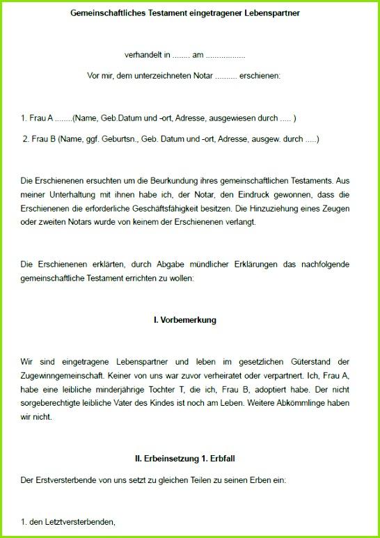 Berliner Testament Muster Kostenlos Modell Berliner Testament Pdf Genial Berliner Testament Muster Kostenlos
