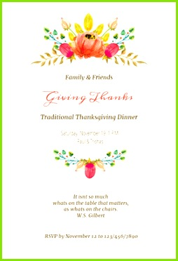 Sweet Swags Free Printable Thanksgiving Invitation Template