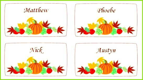 free templates for thanksgiving place cards