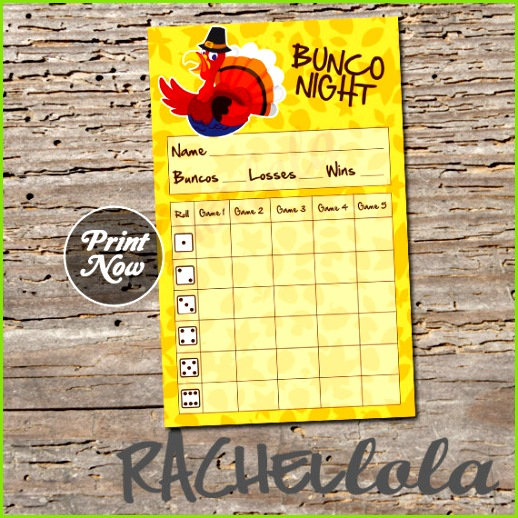 Turkey Thanksgiving Bunco score card instant