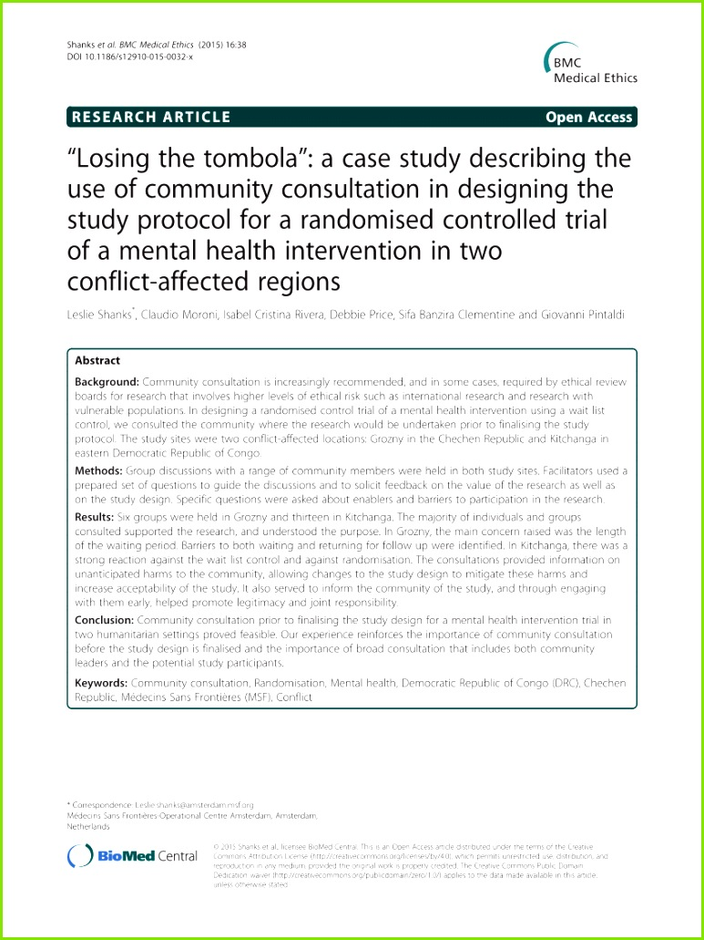 """PDF """"Losing the tombola"""" A case study describing the use of munity consultation in designing the study protocol for a randomised controlled trial of a"""