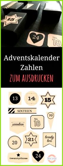 Weihnachten Basteln Idee Adventskalender Vorlage zum Ausdrucken Mit weißen und schwarzen Zahlen jeweils