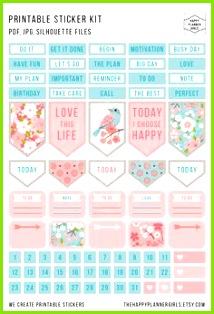 Beautiful floral stickers Einlage Kalender Vorlagen Kreativ Planer Layout Terminplaner Seiten