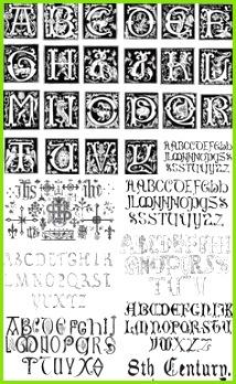 Retro ornate alphabets vector Seidenmalerei Vorlagen Kostenlose Vektorgrafiken Vector Kostenloser Download Alphabetvorlagen
