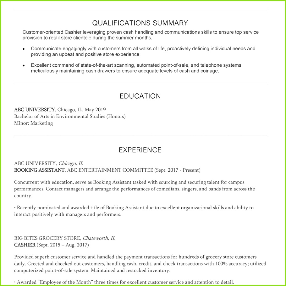 Screenshot of a summer cashier resume template