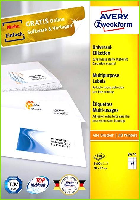 AVERY Zweckform 3474 Universal Etiketten A4 Papier matt 2 400 Etiketten 70 x 37 mm 100 Blatt weiß Amazon Bürobedarf & Schreibwaren