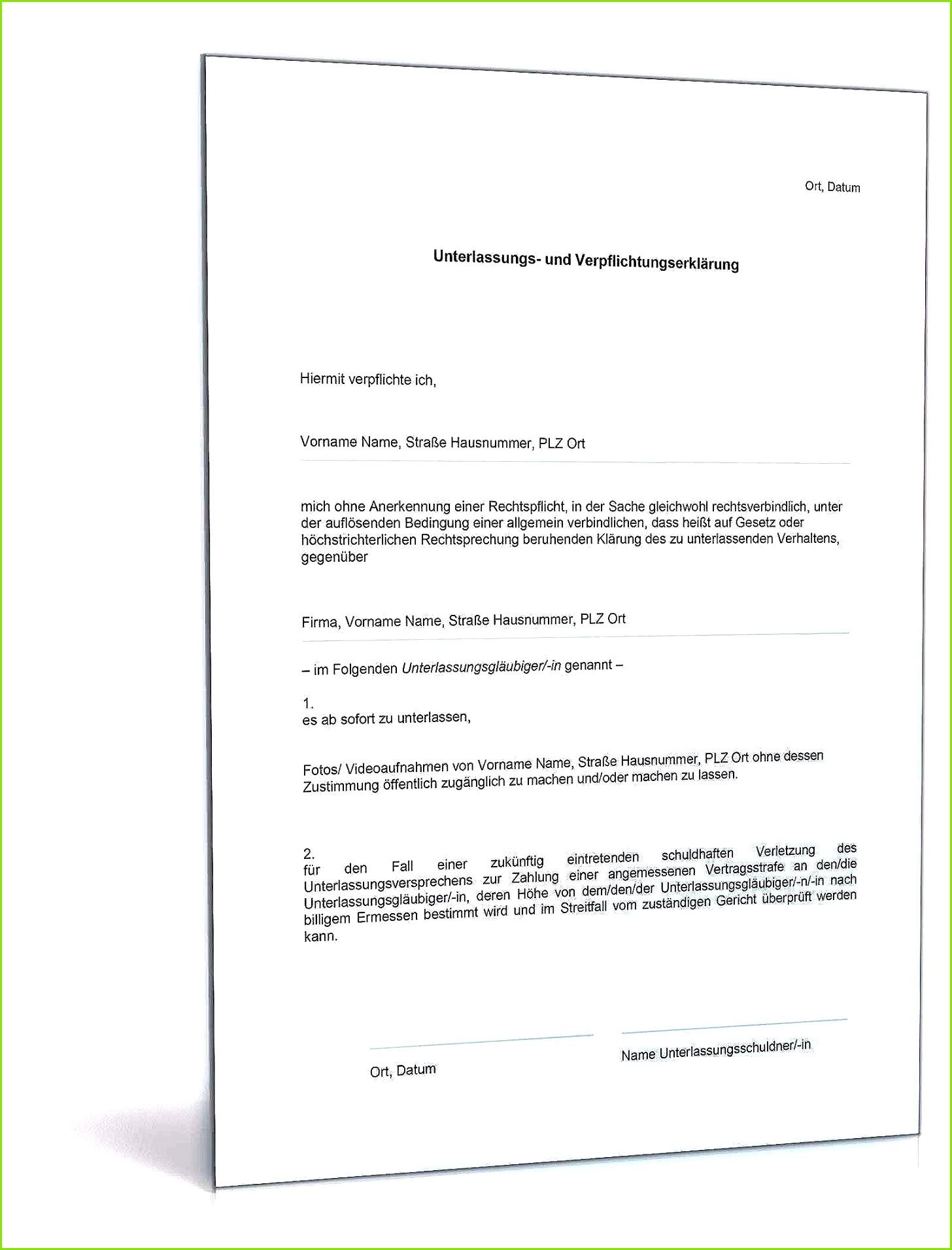 Unterlassungserklärung Vorlage Elegante Download Archiv • Rechtliches Dokumente &