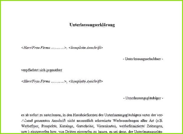 Unterlassungserklärung Vorlage Großen Unterlassungserklärung Muster Download