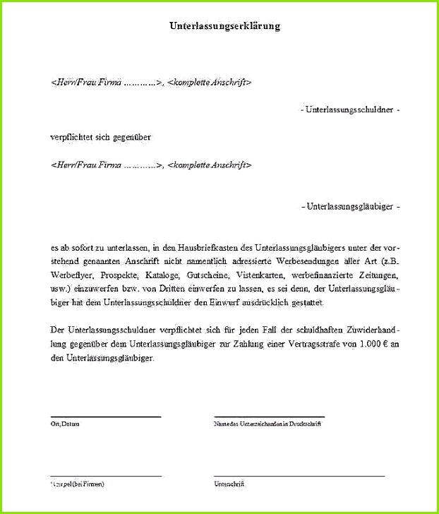 Unterlassungserklärung Vorlage Frische Unterlassungserklärung Muster Download