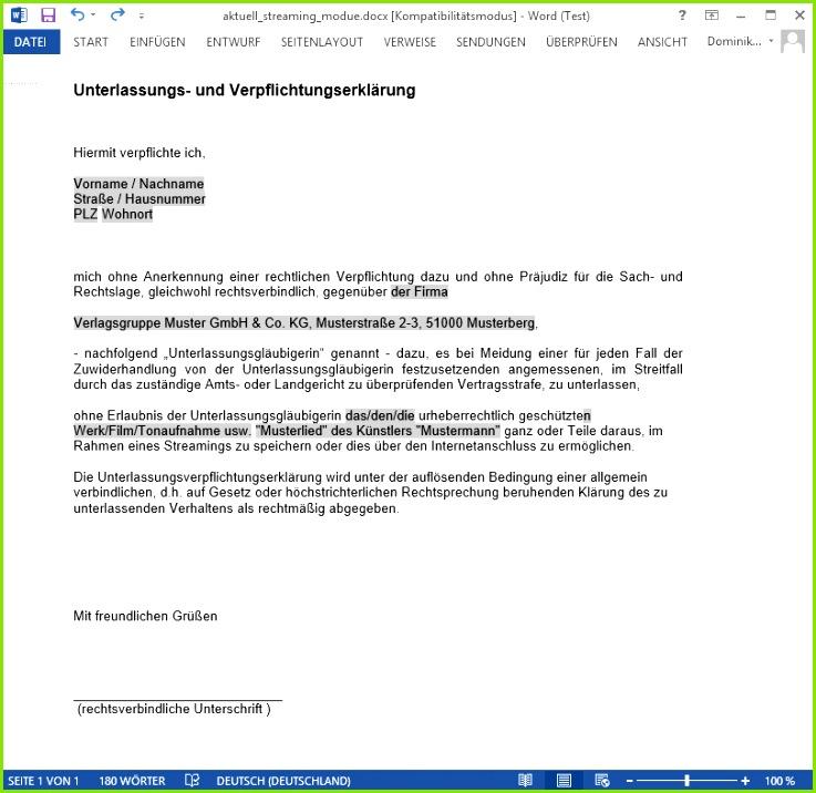 modifizierte Unterlassungserklärung für Streaming Abmahnungen Muster