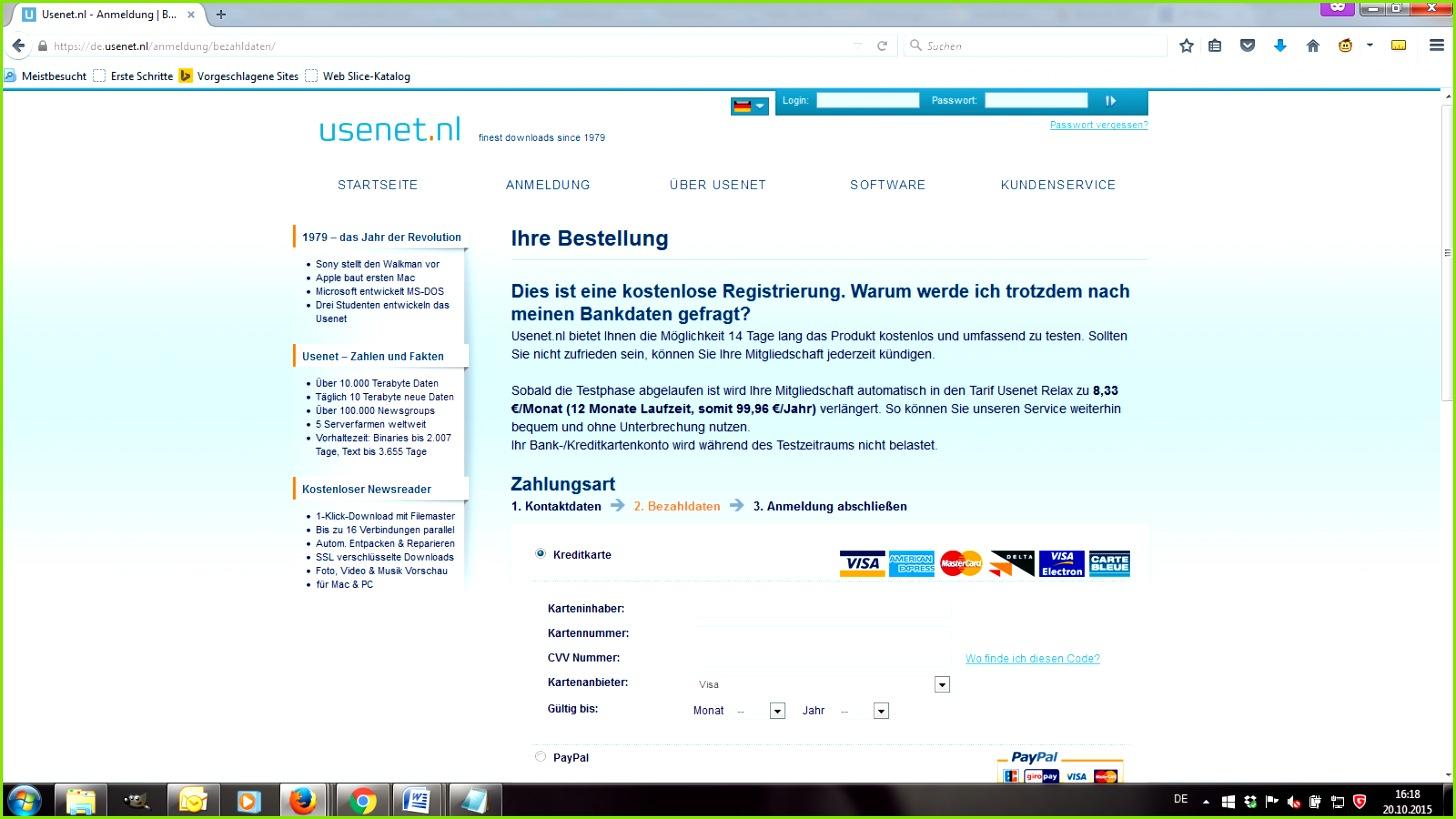 Usenet Bezahldaten Screenshot