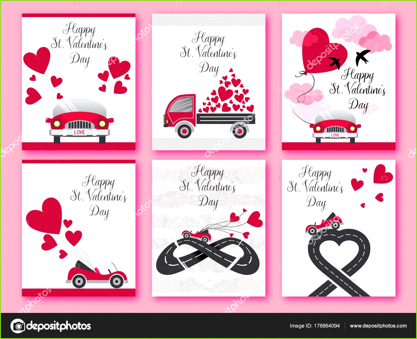 Happy Valentines Day Satz von Valentines romantische Grußkarte Einladung Plakat Design Vorlagen