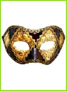 Colombina scacchi oro cuoio musica Venezianische Maske Masken BastelnVenezianische
