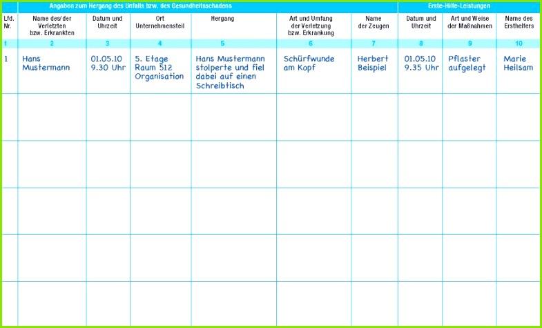 Dokumentation der Erste Hilfe Leistungen Verbandbuch Muster