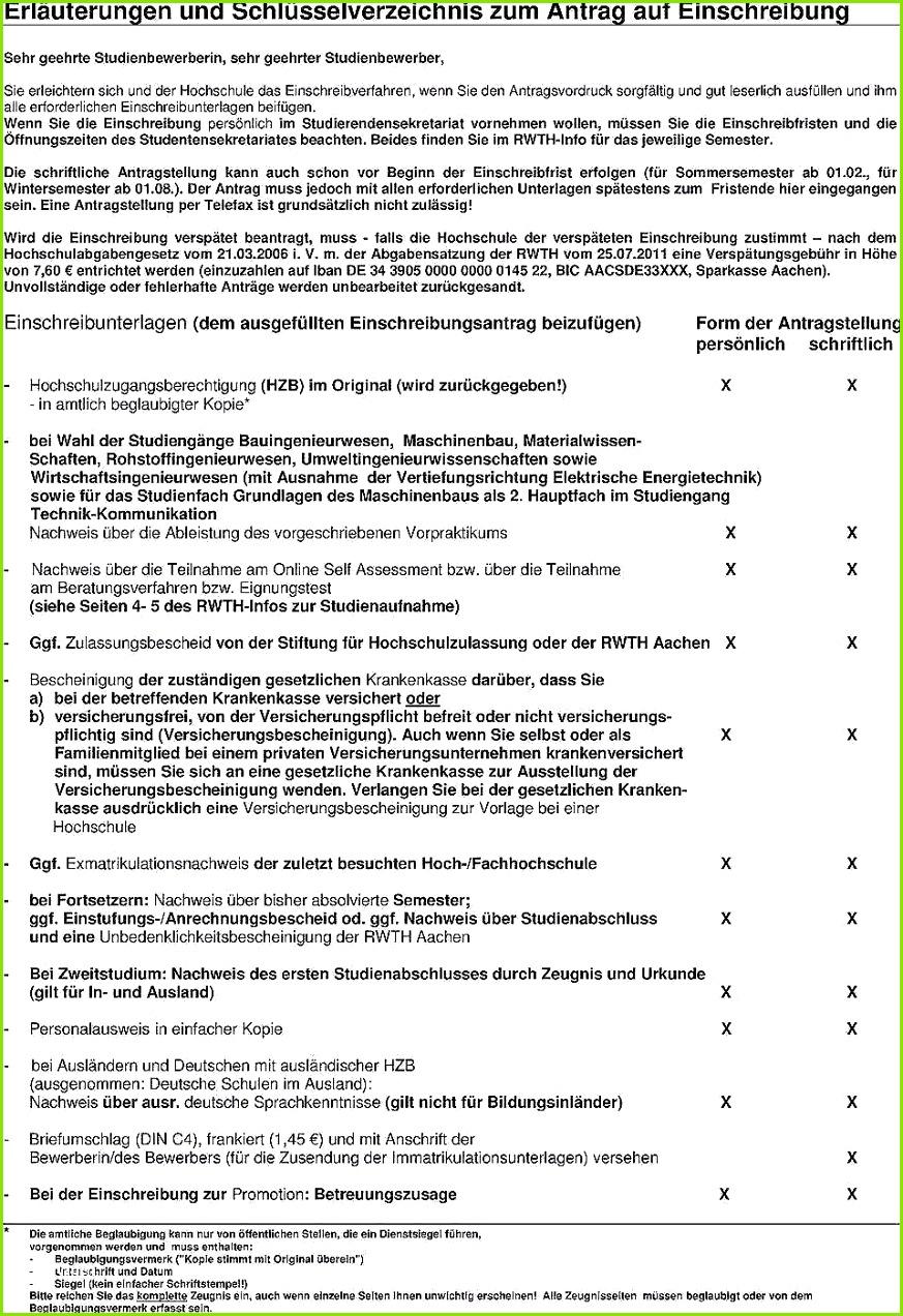 Versicherungsbescheinigung Zur Vorlage Bei Der Hochschule Aok Gute Antrag Auf Einschreibung An Der Rwth Aachen Antrag