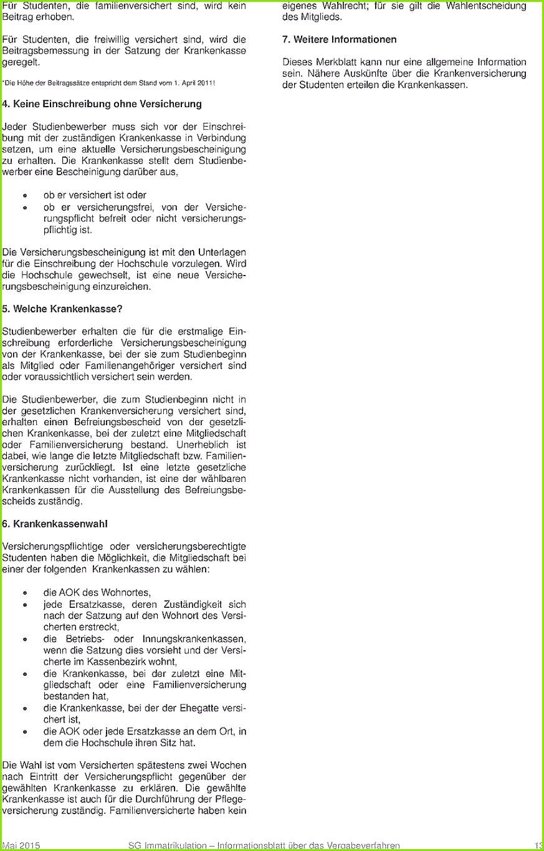 Versicherungsbescheinigung Zur Vorlage Bei Der Hochschule Aok Angenehme Informationen über Das Vergabeverfahren Zum Wintersemester