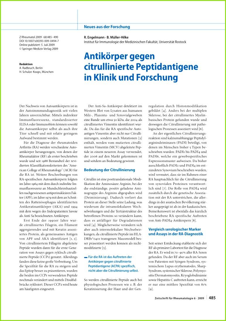 PDF Genetik und Immunologie der Antikörper gegen citrullinierte Peptidantigene bei der rheumatoiden Arthritis