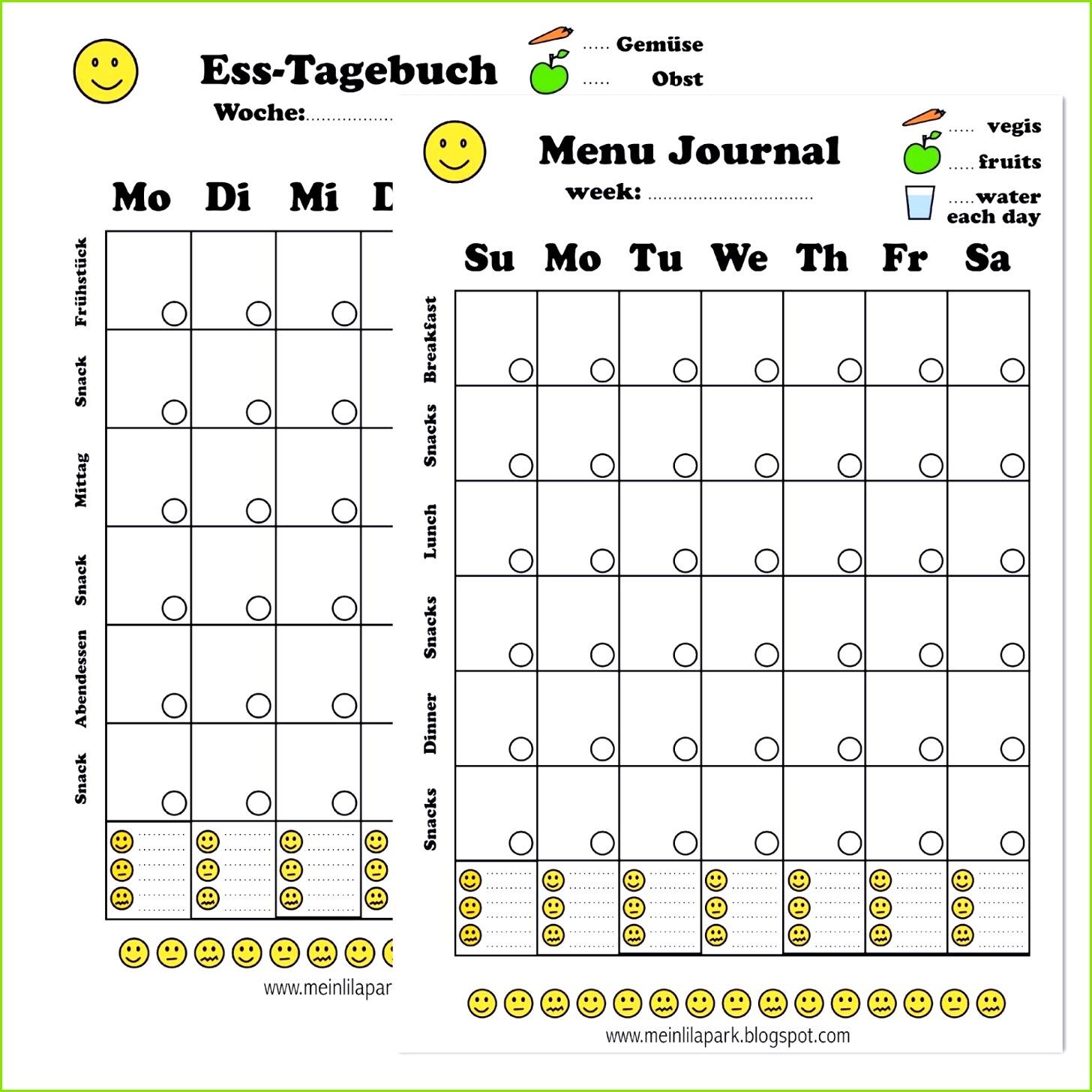 Free printable menu journal ausdruckbares Diät Tagebuch freebie