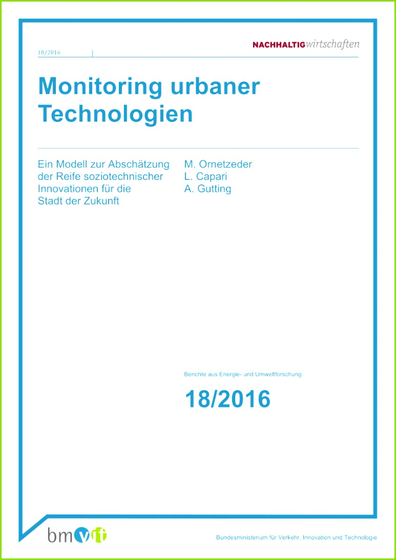PDF Monitoring urbaner Technologien Ein Modell zur Abschätzung der Reife soziotechnischer Innovationen für Stadt der Zukunft