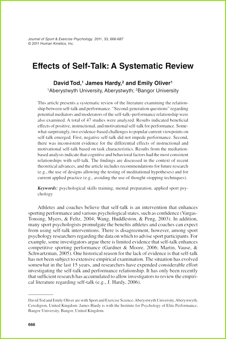 PDF Effects of Self Talk A Systematic Review