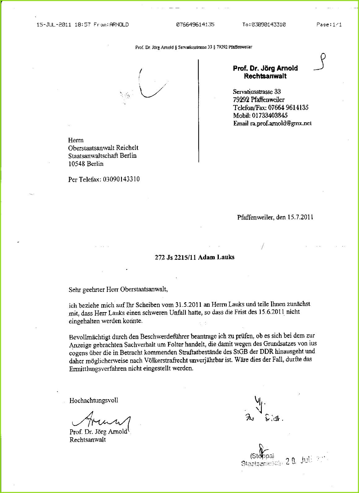 Stasifreundliucher Oberstaatsanwalt Reichelt würdigte Meinung des Professor für Strafrecht nicht eines Satzes