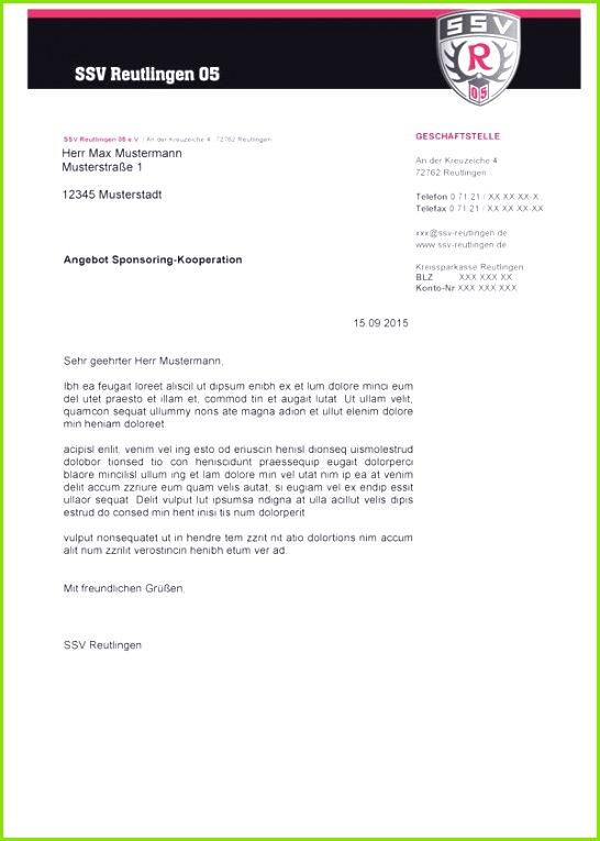 Vorlage Sponsoren Anschreiben SSV Reutlingen