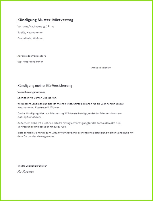 Kündigung Mietvertrag todesfall Musterbrief Neues Kündigung Mietvertrag Vorlage Word