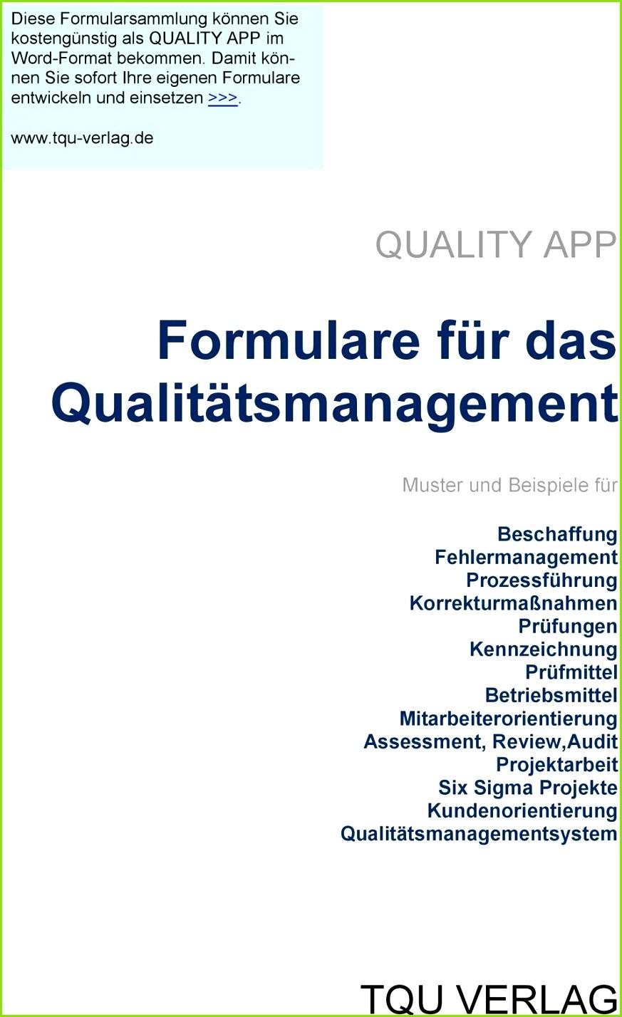 de QUALITY APP Formulare für das Qualitätsmanagement Muster und Beispiele für Beschaffung Fehlermanagement Prozessführung
