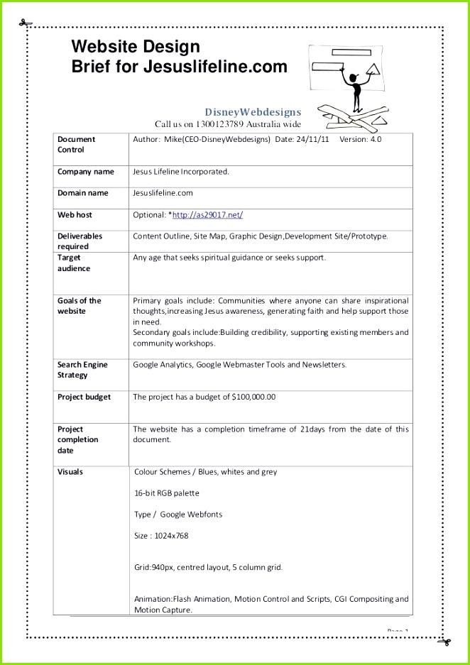 Website Design Brief for Jesuslifeline Disneywebdesigns C Design Brief Template