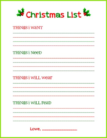 Help your kids have a less materialistic Christmas with this easy Christmas list printable Then chose one t from each category
