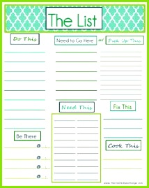 "Free Printable ""To Do"" List that covers just about everything Can be used"
