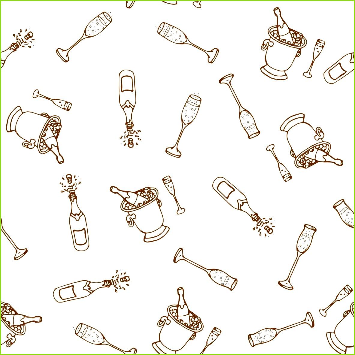 Wein nahtlose Muster Weinherstellungsprodukte im Skizzenstil Hand gezeichnete alkoholische Getränke eingestellt Vector Illustration
